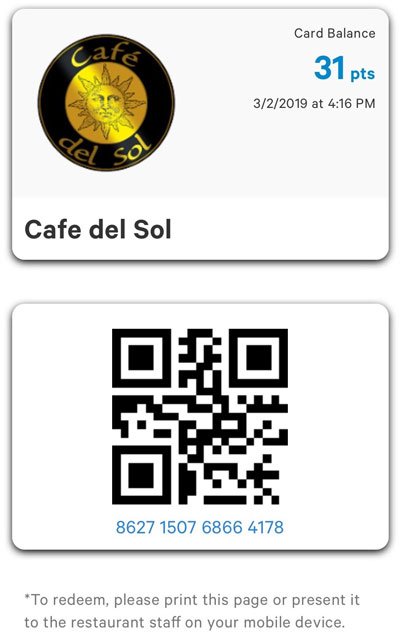 Cafe Del Sol Rewards Card